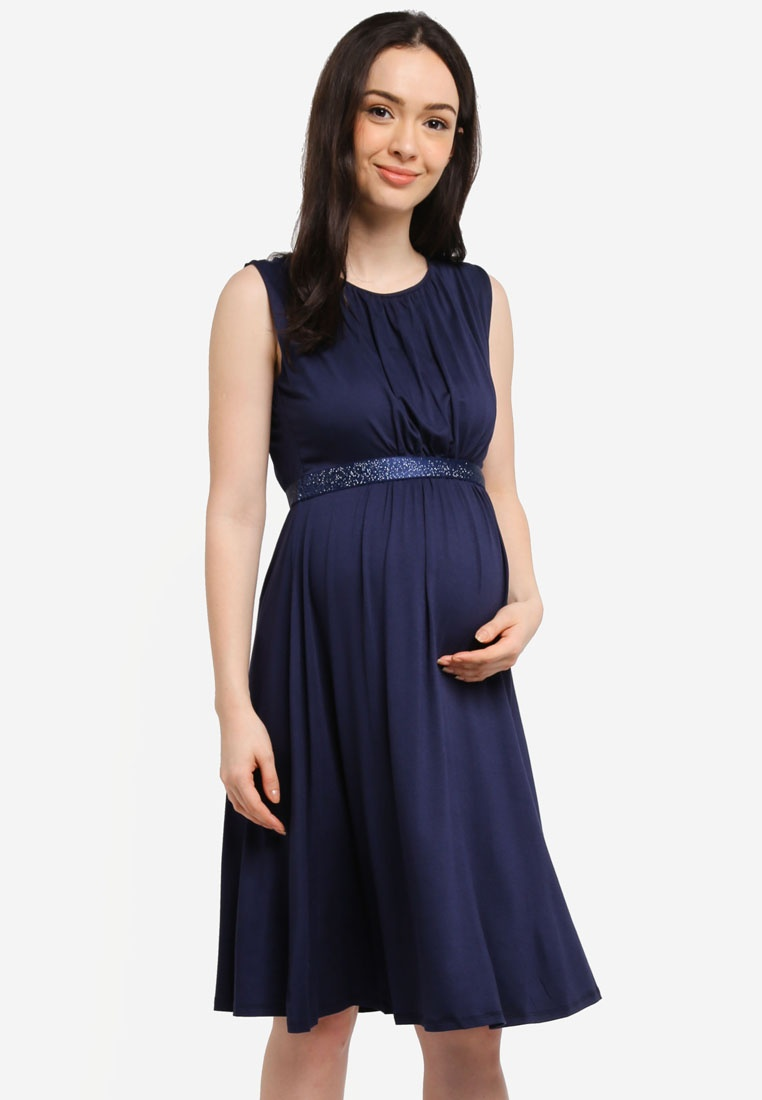 Cleore Maternity Envie Navy Fraise Tank Dress De Blue gqdq7U