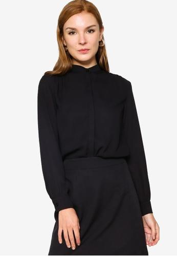 ZALORA WORK 黑色 Stand Collar Oversized Blouse DA0D5AA90A3E7DGS_1