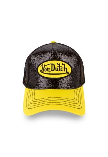 Von Dutch black and yellow Von Dutch Black & Yellow Glitter Trucker Cap FC585ACF39034AGS_1