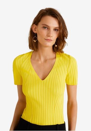 Mango yellow Ribbed Top 60D10AA976929BGS_1