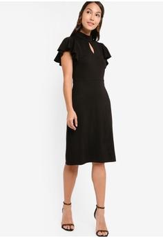 53cde28b6407 38% OFF ZALORA Mock Neck Flutter Sleeves Dress S$ 39.90 NOW S$ 24.90 Sizes  XS S M L XL