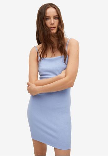 Mango blue Fitted Textured Dress 70053AA44F69EFGS_1
