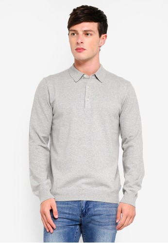 French Connection grey Stretch Cotton Long Sleeve Polo Shirt D9840AA9A838EDGS_1