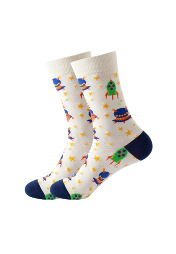 Kings Collection white UFO Pattern Cozy Socks (One Size) HS202165 D19F4AAAE3554FGS_1