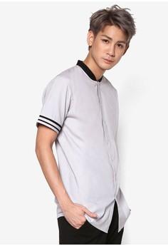 【ZALORA】 撞色領條紋袖口短袖襯衫