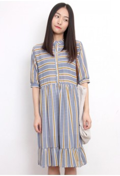 Summer Stripe Oversized Chiffon Dress