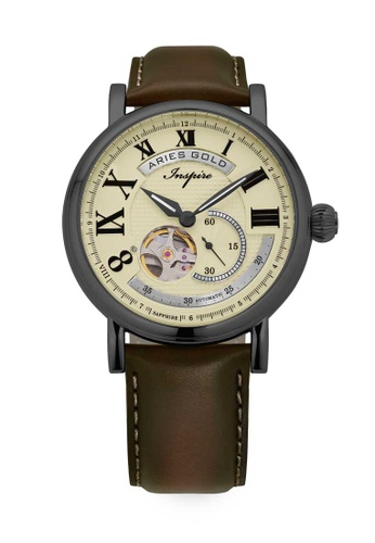 Aries Gold brown Aries Gold Inspire Gauntlet Tungsten and Brown Leather Watch E2104AC423046FGS_1