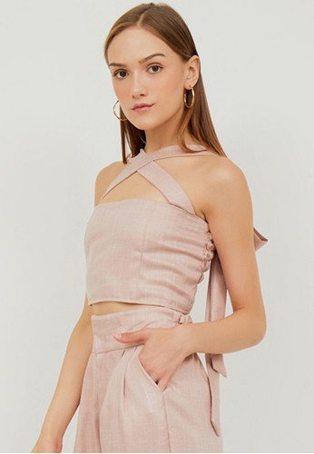 Boss Babe the Label pink Renee Multiway Bustier Style Linen Crop Top in Soft Pink 1C8A0AAF4B099AGS_1