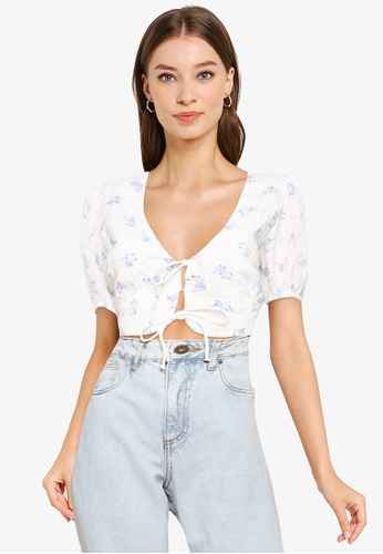 Cotton On blue Sunshine Short Sleeve Tie Up Top B3720AA95C7AC5GS_1