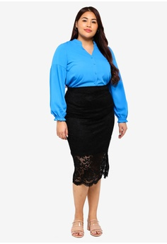 dbc0661c95a 20% OFF LOST INK PLUS Plus Size Pencil Skirt In Lace RM 195.00 NOW RM  155.90 Sizes 16 18 20 22 24
