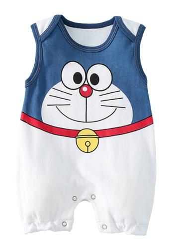 Kiddies Crew white and blue and multi Doraemon Sleeveless Boys Girls Baby Kids Romper Onesie Overalls With Three-Quarter Pants 1BE7BKA93D648DGS_1