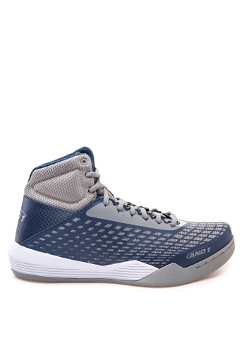 And1 grey and white Ascender Basketball Shoes AN510SH64QYHPH_1