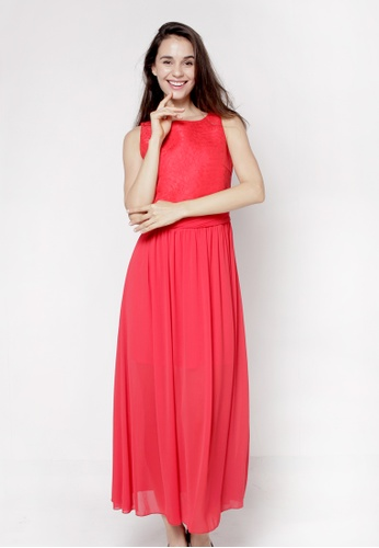 Nicole Exclusives red Long Draped Dress BBD9CAAECE6BFAGS_1