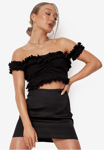 MISSGUIDED black Rib Ruched Front Frill Bardot Crop Top 4C5A0AA7E0CAA9GS_1