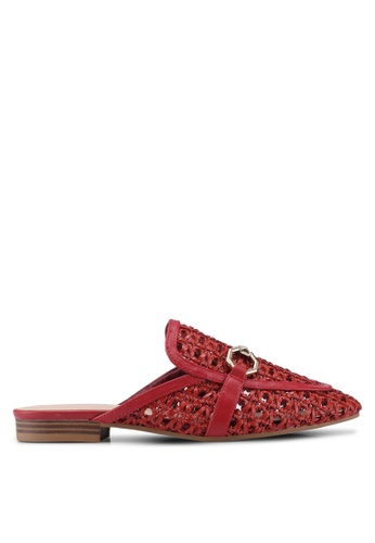 TOPSHOP red Woven Backless Loafer With Trim E6875SH7487710GS_1