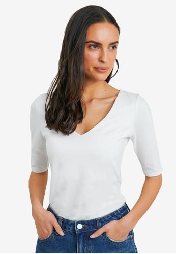 FORCAST white Lana Elbow Sleeve Tee D2FC1AA8B9E4C5GS_1