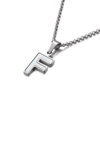 Glamorousky 白色 時尚優雅英文字母F貝殼316L鋼吊墜配項鏈 3FDF7ACCEE1838GS_1