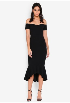 5eaf862ced55 MISSGUIDED black Bardot Fishtail Hem Midi Dress A7BFAAA837B69EGS 1