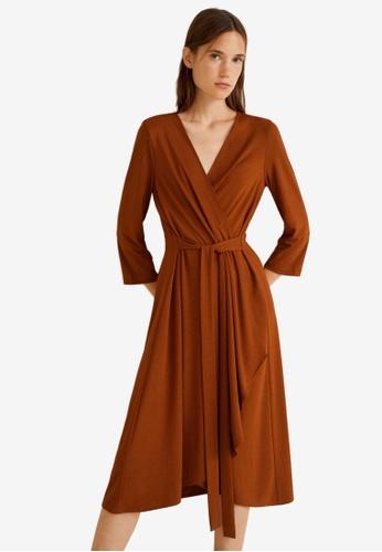 Mango orange Bow Wrap Dress ABAA9AA4092E7FGS_1