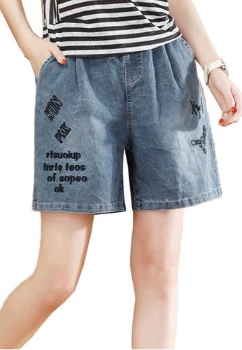 A-IN GIRLS navy Denim Shorts With Elastic Waist 451FFAA7FED309GS_1