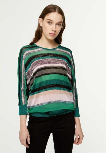 SISLEY 多色 長版橫條紋針織衫 A5223AA6490ED3GS_1