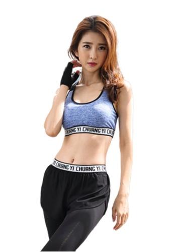 B-Code blue ZYG3014-Lady Quick Drying Running Fitness Yoga Sports Bra -Blue 6A940USB6375C9GS_1