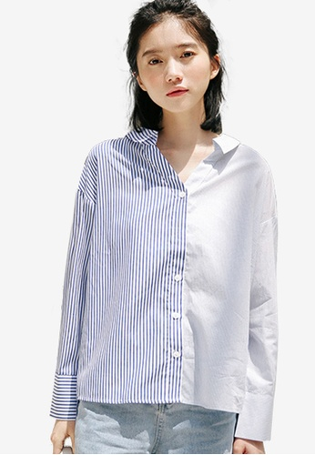Shopsfashion 白色 and 藍色 Colorblock Shirt E41B3AA4DD48E4GS_1