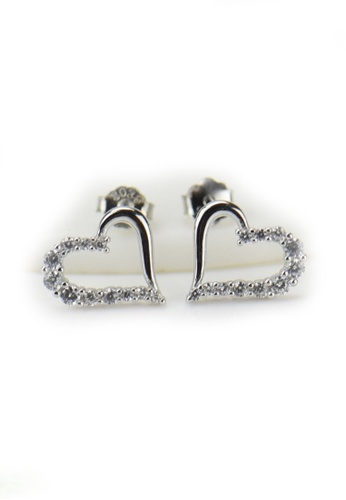 LYCKA silver LFF1224-LYCKA-S925 Siliver White Zircon Trendy Heart Earrings  -Silver LY529AC0HACYSG_1
