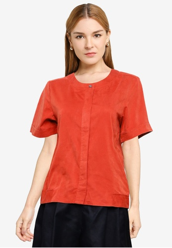The Duo red Faux Suede Top 007CEAA9B0FF75GS_1