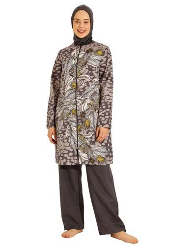 Modanisa multi Mayo Bella by Modanisa Leopard Fully Covered Swimsuits 3ACB6US8BAD60FGS_1