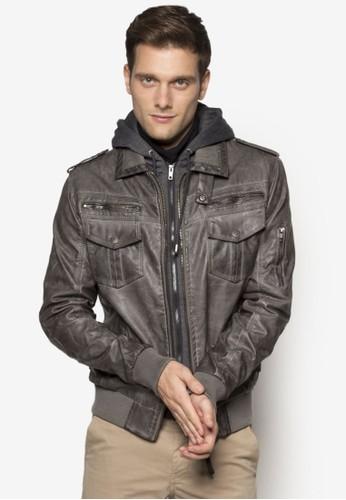 Aaron esprit官網拉鍊口袋仿皮外套, 服飾, 服飾