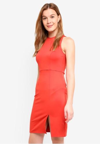 ZALORA BASICS orange Halter Midi Dress B30C7AA984094BGS_1