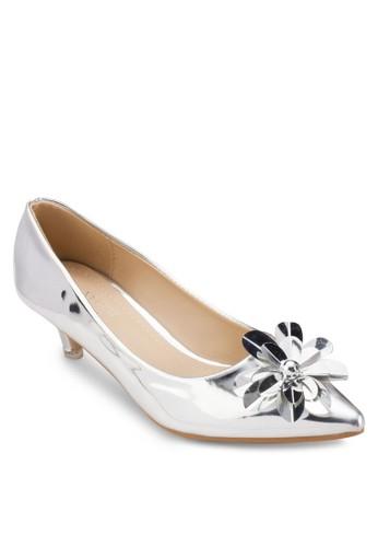 Occasion 花飾尖頭中高跟鞋, 女esprit au鞋, 厚底高跟鞋