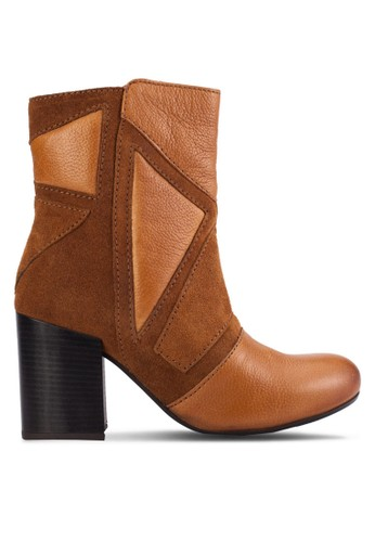Conway 幾何拼接高跟短靴, 女鞋,esprit sg 鞋