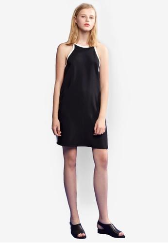 Combi 撞色滾邊繫帶連身zalora taiwan 時尚購物網裙, 服飾, 洋裝