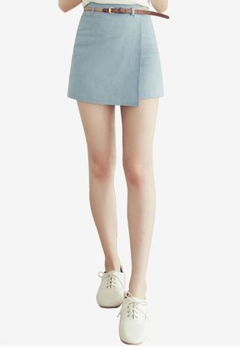 Eyescream blue Minimalist Wrap Mini Skirt With Braided Belt 786B7AAF448F5CGS_1