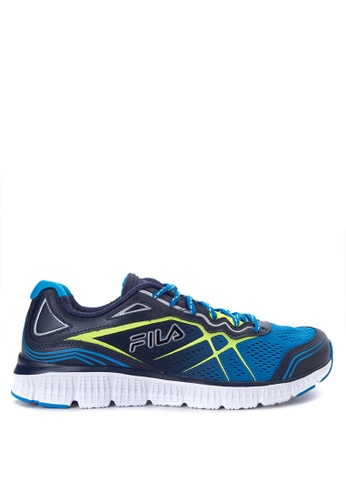 Fila yellow and blue and navy Memory Panorama Running Shoes FI683SH18PXXPH_1