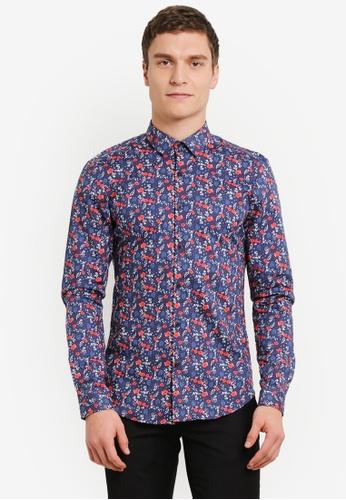 Topman navy Floral Print Shirt TO413AA0SHCAMY_1