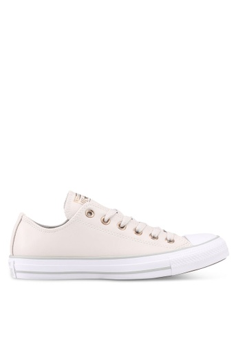 Converse white and beige Chuck Taylor All Star Craft Nuetrals Ox Sneakers 551ADSH9F36650GS_1
