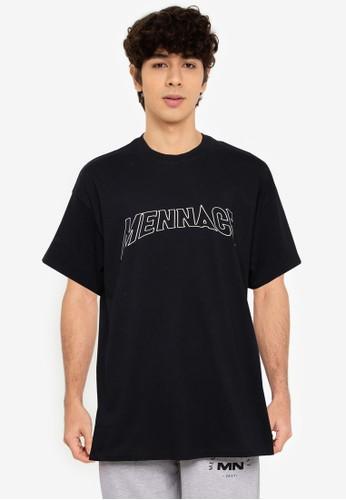 Mennace black Heavy Font Oversized T-Shirt DD7CBAADFF6067GS_1