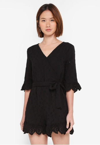 Cotton On black Woven Elly Embroidered Playsuit 32450AADFC357AGS_1