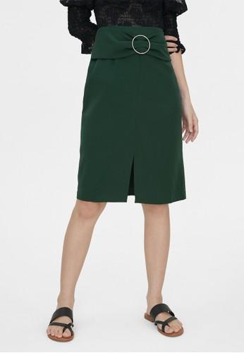 Pomelo green Belted Center Slit Skirt - Green DA8D9AA3A3F8EEGS_1