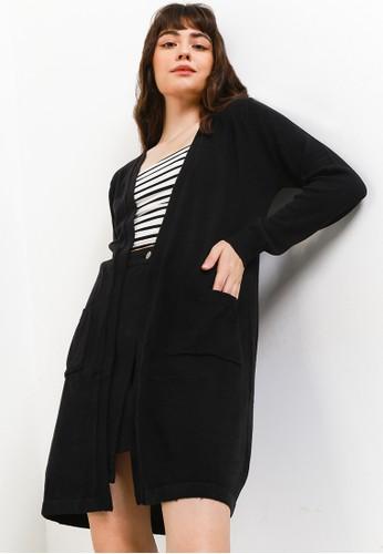 Button On black Women Cardigan Design Long Line D191CAA4ECF4C1GS_1