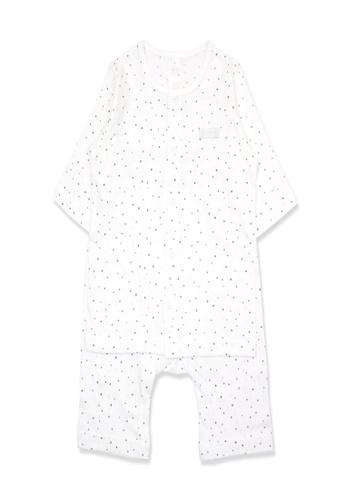 Organic mom white Organic Cotton Johnny Dot 3/4 length sleeves  PJs B52B0KA0CCB73AGS_1