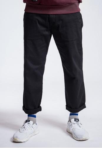 L.I.M.I.T.E 黑色 斜紋布拼透明感闊褲 3DB0CAA1D13A2DGS_1