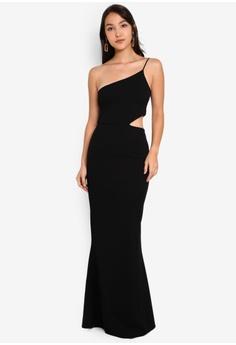 03dd2833ef48d MISSGUIDED black Cut Out Waist One Shoulder Maxi Dress 200DAAA435A0B0GS_1