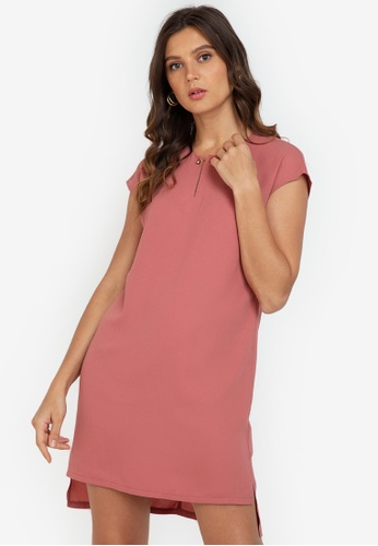 ZALORA WORK pink Bar Detail Mini Dress 90382AA7226266GS_1