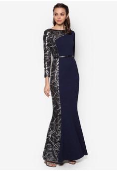 Geo Sequin Pieced Mermaid Dress
