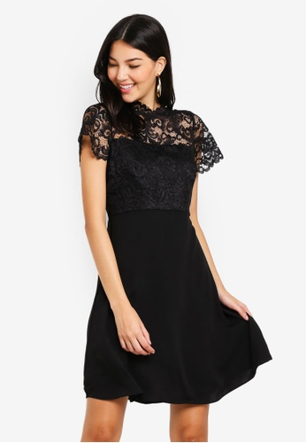 9b2a47402995 Wallis black Petite Black Lace Fit And Flare Dress B9290AA171EDCDGS_1