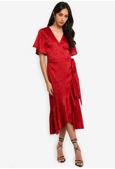 645055a4c68 MISSGUIDED V Plunge Ruffle Midi Dress RM 189.00. Sizes 6 8 10 12 14